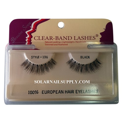 Beautee Sense Clear-Band Lashes (#136) - Black - 1 pack