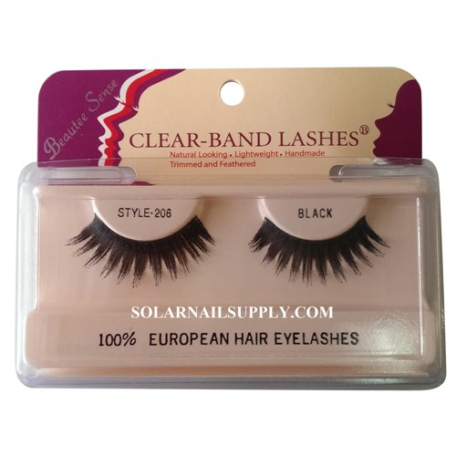 Beautee Sense Clear-Band Lashes (#206) - Black - 1 pack