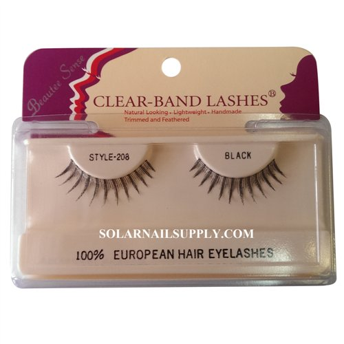 Beautee Sense Clear-Band Lashes (#208) - Black - 1 pack