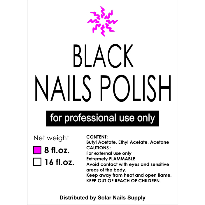 Nails Polish Refill - Extreme Black (4oz, 8oz, 16oz)
