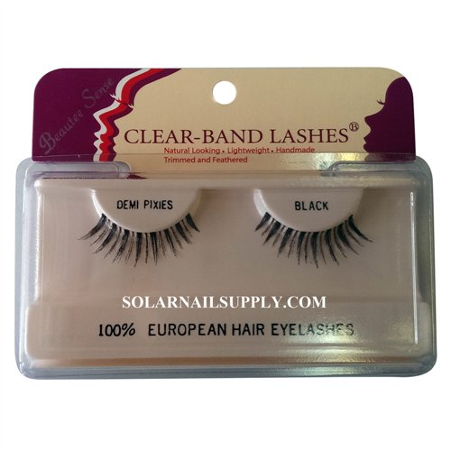 Beautee Sense Clear-Band Lashes (demi pixies) - Black - 1 pack