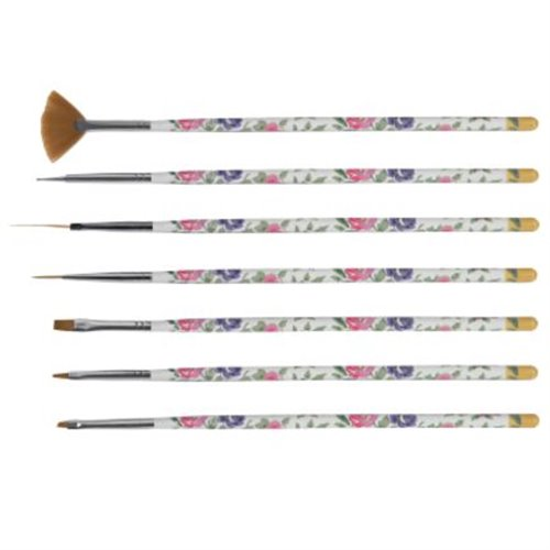 Floral Nail Art Brush Set - 7 pcs
