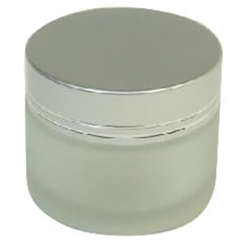 Frosted Glass Jar - 2 oz - Silver Cap