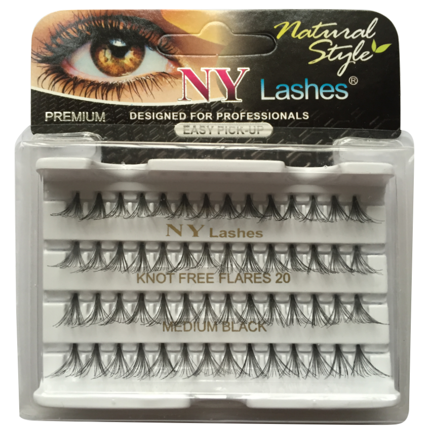 NY Lashes 20 (Non-Packaging) Black - Knot Free Flares - 105 packs/box
